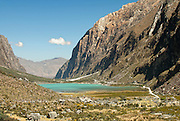 Laguna Orconcocha and the sheer granite walls of the Quebrada Llanganuco (Llanganuco Valley) in the Huascarán National Park.  This view is looking west from Cebolla Pampa, on one of the switchbacks snaking up to the Portachuelo de Llanganuco.  Nikon D200, 70-200/2.8.