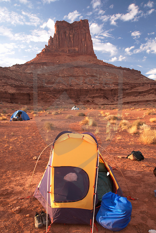 camping at airport tower while mountain biking on the white rim trail in canyonlands national park, utah.