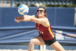 April 7, 2018 - Tucson, AZ, U.S. - TUCSON, AZ - APRIL 07: Colorado Mesa Mavericks Natalee Todd (13) hits the ball during a college beach volleyball match between the Colorado Mesa Mavericks and the Arizona Wildcats on April 07, 2018, at Bear Down Beach in Tucson, AZ. Arizona defeated Colorado Mesa 4-1. (Photo by Jacob Snow/Icon Sportswire (Credit Image: © Jacob Snow/Icon SMI via ZUMA Press)