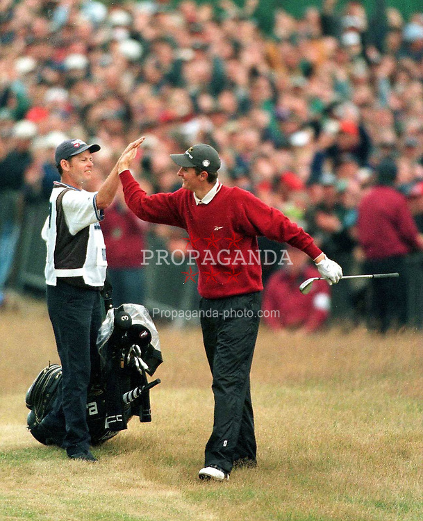 SOUTHPORT, ENGLAND - Sunday, July 19, 1998: 17-year old Justin Rose celebrates after his spectacular chip on the 18th during his final round at the British Open at Royal Brikdale. (Pic by David Rawcliffe/Propaganda)