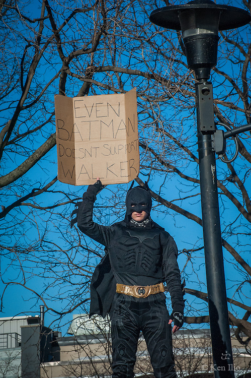 Protester at the capitol, Madison Wisconsin