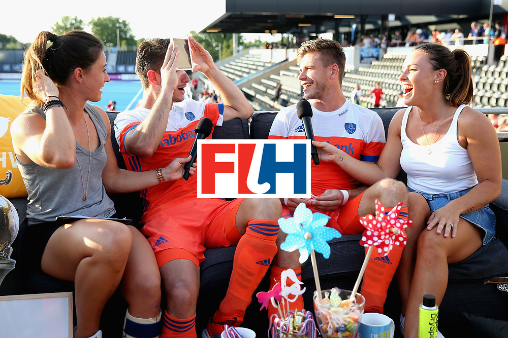 LONDON, ENGLAND - JUNE 17:  Robbert Kemperman of the Netherlands (left) and Sander de Wijn of the Netherlands are interviewed following the Hero Hockey World League Semi Final match between Scotland and Netherlands at Lee Valley Hockey and Tennis Centre on June 17, 2017 in London, England.  (Photo by Alex Morton/Getty Images)