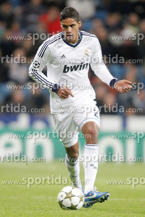 04.12.2012, Estadio Santiago Bernabeu, Madrid, ESP, UEFA CL, AC Mailand vs Ajax Amsterdam, Gruppe D, im Bild 04.12.2012, Estadio Santiago Bernabeu, Madrid, ESP, UEFA CL, AC Mailand vs Ajax Amsterdam, Gruppe D, im Bild Real Madrid's Raphaël Varane // during UEFA Champions League group D match between Real Madrid CF and Ajax Amsterdam at the Estadio Santiago Bernabeu, Madrid, Spain on 2012/12/04. EXPA Pictures © 2012, PhotoCredit: EXPA/ Alterphotos/ Alvaro Hernandez..***** ATTENTION - OUT OF ESP and SUI *****