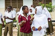 School children in discussions during a geography class outside in the school grounds. Paul has been working with Rebecca for over 6 months to improve teaching methodologies in classrooms. Angaza school, Lindi, Tanzania