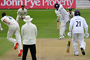 Fynn Hudson-Prentice of Derbyshire facing Jake Ball during the Bob Willis Trophy match between Nottinghamshire County Cricket Club and Derbyshire County Cricket Club at Trent Bridge, Nottingham, United Kingdon on 4 August 2020.