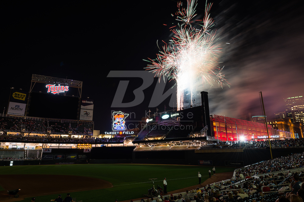 A fireworks display was put on after the game between the Minnesota Twins and Cleveland Indians at Target Field in Minneapolis, Minnesota on July 27, 2012.  © 2012 Ben Krause