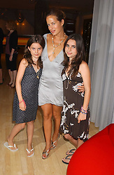 Left to right, JADE JAGGER and her daughters AMBA and ASSISI at party in aid of cancer charity Clic Sargent held at the Sanderson Hotel, Berners Street, London on 4th July 2005.<br />