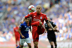 Martin Skrtel of Liverpool in action during the Budweiser FA Cup semi final match between Liverpool and Everton at Wembley on Saturday 14 April 2012 (Photo by Rob Munro)