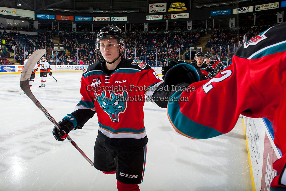 KELOWNA, CANADA - NOVEMBER 25: Kaedan Korczak #6 of the Kelowna Rockets celebrates a second period goal against the Medicine Hat Tigers on November 25, 2017 at Prospera Place in Kelowna, British Columbia, Canada.  (Photo by Marissa Baecker/Shoot the Breeze)  *** Local Caption ***