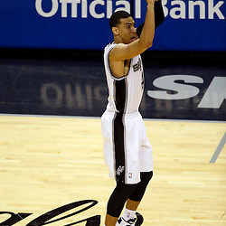 Jun 16, 2013; San Antonio, TX, USA; San Antonio Spurs shooting guard Danny Green (4) shoots against the Miami Heat during the third quarter of game five in the 2013 NBA Finals at the AT&T Center. Mandatory Credit: Derick E. Hingle-USA TODAY Sports