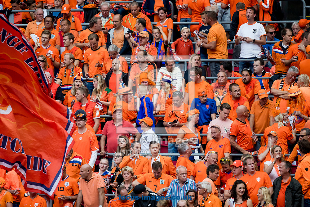 Dutch fans in orange before the 2018 FIFA World Cup Qualifying match at Amsterdam Arena, Amsterdam<br /> Picture by Joep Joseph Leenen/Focus Images Ltd +316 5261929<br /> 03/09/2017<br /> ***NETHERLANDS OUT***