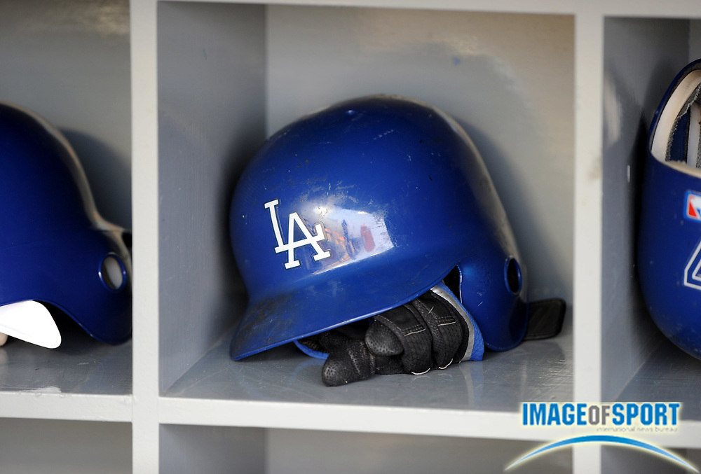 May 5, 2008; Los Angeles, CA, USA; Los Angeles Dodgers helmet in dugout before game against the New York Mets at Dodger Stadium.