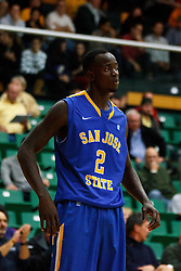 Nov 16, 2011; San Francisco CA, USA;  San Jose State Spartans forward Jaleel Williams (2) before a free throw against the San Francisco Dons during the first half at War Memorial Gym.  San Francisco defeated San Jose State 83-81 in overtime. Mandatory Credit: Jason O. Watson-US PRESSWIRE