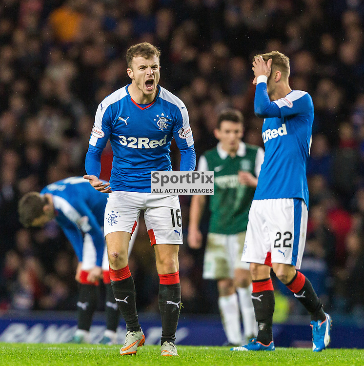 Andrew Halliday celebrates during the match between Rangers and Hibernian (c) ROSS EAGLESHAM | Sportpix.co.uk