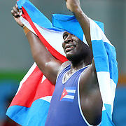 Wrestling - Olympics: Day 10   Mijain Lopez Nunez of Cuba celebrates after winning his third straight Olympic Gold Medal winning the Men's Greco-Roman 130 kg at the Carioca Arena 2 on August 15, 2016 in Rio de Janeiro, Brazil. (Photo by Tim Clayton/Corbis via Getty Images)
