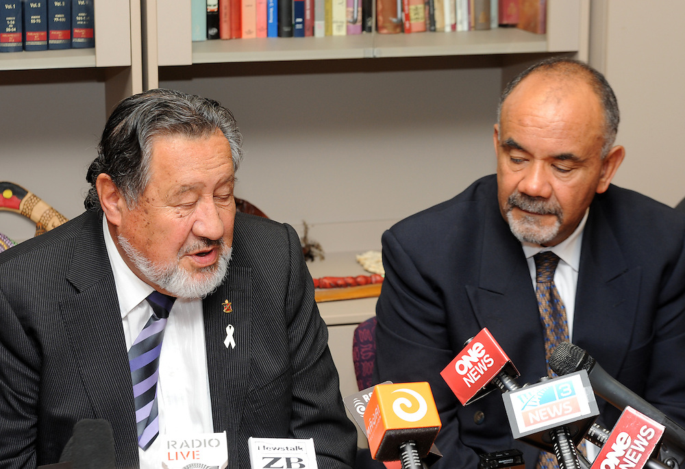 Pita Sharples. left, announces his resignation as co-leader of the Maori Party with MP Te Ururoa Flavell, Parliament, Wellington, New Zealand, Tuesday, July 02, 2013. Credit:SNPA / Ross Setford