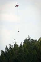 A helicopter flies over trees Thursday to a wildfire at Mica Creek after refilling its water bucket from Mica Bay.