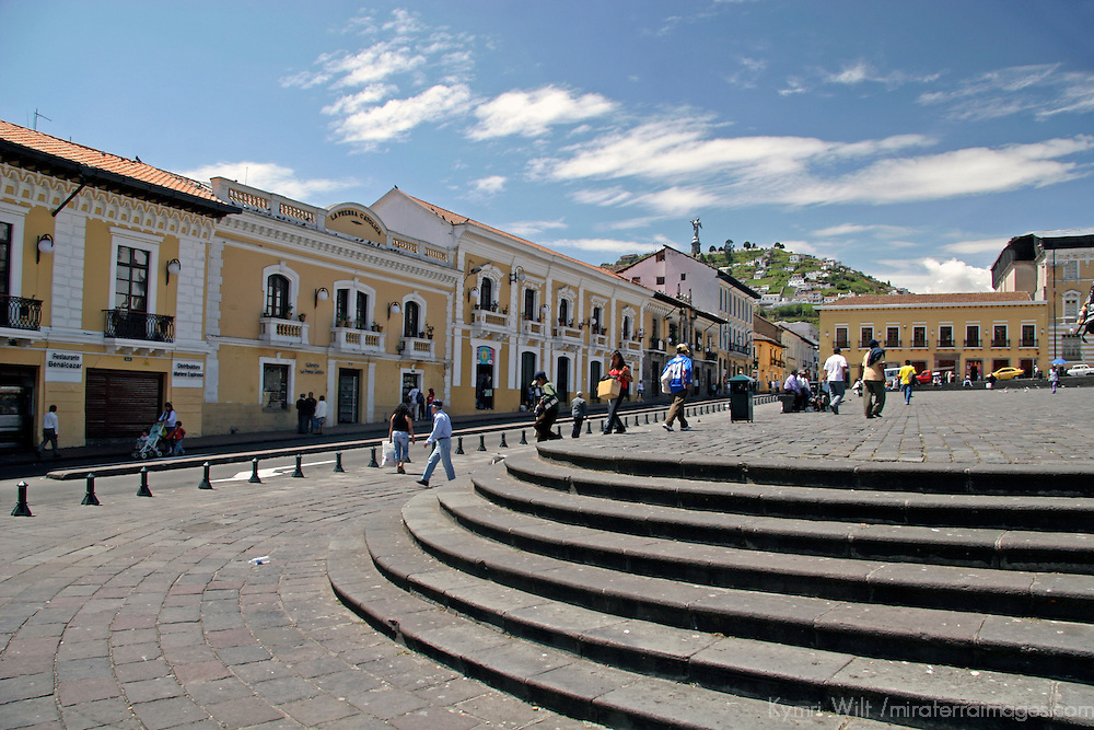 South America, Ecuador, Quito. Colonial plaza of Quito's historical center, a UNESCO World Heritage site.