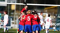 Football<br /> UEFA WU19 , Second Qualifying Round<br /> UKI Arena Jessheim 04.04.13<br /> England - Serbia<br /> Serbi celebrates a goal , Jovana Damnjanovio<br /> Foto: Eirik Førde