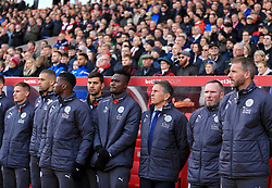 Leicester City manager Claude Puel stands to commemorate remembrance day - Mandatory by-line: Paul Roberts/JMP - 04/11/2017 - FOOTBALL - Bet365 Stadium - Stoke-on-Trent, England - Stoke City v Leicester City - Premier League