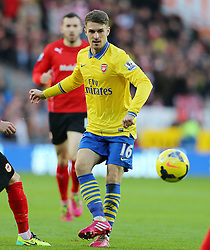 Arsenal's Aaron Ramsey on the ball - Photo mandatory by-line: Gary Day/JMP - Tel: Mobile: 07966 386802 30/11/2013 - SPORT - Football - Cardiff - Cardiff City Stadium - Cardiff City v Arsenal - Barclays Premier League