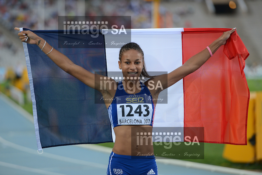 BARCELONA, Spain: Saturday 14 July 2012, Aurelie Chaboudez (France) after winning the silver medal in the women's 400m hurdles during day 5 of the IAAF World Junior Championships at the Estadi Olimpic de Montjuic..Photo by Roger Sedres/ImageSA
