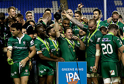 London Irish lift the Greene King IPA Championship trophy and celebrate promotion the Aviva Premiership - Mandatory by-line: Robbie Stephenson/JMP - 24/05/2017 - RUGBY - Madejski Stadium - Reading, England - London Irish v Yorkshire Carnegie - Greene King IPA Championship Final 2nd Leg