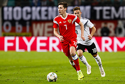 November 15, 2018 - Leipzig, Germany - Joshua Kimmich (R) of Germany and Daler Kuzyaev of Russia in action during the international friendly match between Germany and Russia on November 15, 2018 at Red Bull Arena in Leipzig, Germany. (Credit Image: © Mike Kireev/NurPhoto via ZUMA Press)