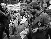 Irish Theatre Industry Protest..1983.07.12.1983.12.07.1983.7th December 1983..With the imposition of a 23% V.A.T. rate the Irish Theatre Industry was feeling the strain. Image shows Maureen Potter the Star of Irish Theatre led the protest against the rate outside Leinster House, Dublin. Ably assisting was Bottler,aka Brendan Grace