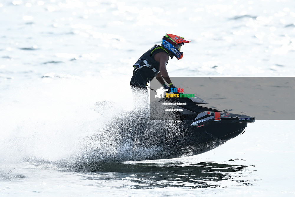 PATTAYA, THAILAND - DECEMBER 09: Supak Settura (T1) of Thailand and Freedom Racing Jet Ski Team in action during the Pro Runabout 1100 Open Moto4 at the Thai Airways International Jet Ski World Cup 2018, Jomtien Beach, Pattaya, Thailand on December 09, 2018. <br /> .<br /> .<br /> .<br /> (Photo by: Naratip Golf Srisupab/SEALs Sports Images)<br /> .<br /> Any image use must include a mandatory credit line adjacent to the content which should read: Naratip Golf Srisupab/SEALs Sports Images