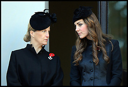 Countess of Wessex and the Duchess of Cambridge during the annual Remembrance Sunday Service at the Cenotaph, Whitehall, London, England. Sunday, 10th November 2013. Picture by Andrew Parsons / i-Images