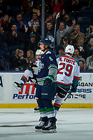 KELOWNA, CANADA - JANUARY 5: Leif Mattson #28 and Nolan Foote #29 of the Kelowna Rockets celebrate a goal against the Seattle Thunderbirds on January 5, 2017 at Prospera Place in Kelowna, British Columbia, Canada.  (Photo by Marissa Baecker/Shoot the Breeze)  *** Local Caption ***
