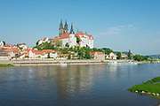 MEISSEN, GERMANY - MAY 22, 2010: View to the Albrechtsburg castle and Meissen cathedral from the opposite bank of Elbe river in Meissen, Germany.