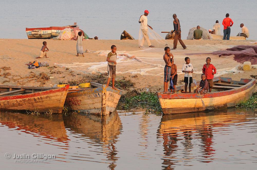 Lakeshore community at Senga Bay, Lake Malawi, Malawi.