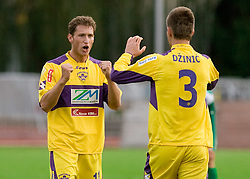Dragan Jelic and Elvedin Dzinic of Maribor celebrate after 13th Round of Prva Liga football match between NK Olimpija and Maribor, on October 17, 2009, in ZAK Stadium, Ljubljana. Maribor won 1:0. (Photo by Vid Ponikvar / Sportida)