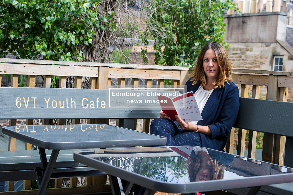 Pictured: <br /> <br /> Lothian MSP Kezia Dugdale launched a new report, 'Falling through the cracks', today, when she visited the Edinburgh City Youth Cafe in Edinburgh.  The report examines the life chances of young people in care. She discussed the report with Roseanna Campbell (19), Katherine Grindley (16), Darren Telford (17) and Sarah-Louise Kelegher (16)<br /> <br /> Ger Harley   EEm 30 July 2018