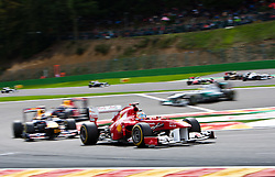 28.08.2011, Circuit de Spa, Francorchamps, BEL, F1, Grosser Preis von Belgien, im Bild Fernando Alonso (ESP), Scuderia Ferrari verfolgt von Mark Webber (AUS), Red Bull Racing-Renault und Sebastian Vettel (GER), Red Bull Racing-Renault // during race at Formula One Championships 2011 Belgian Grand Prix held at the Circuit de Spa, Francorchamps, Belgium, 28/8/2011, EXPA Pictures © 2011, PhotoCredit: EXPA/ J. Groder