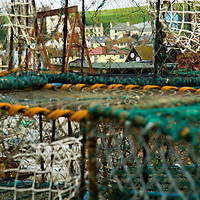 Fishing gear and creels on the beach, Hastings, East wessex, England