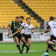 Julian Savea passes the ball during the Super Rugby union game between Hurricanes and Sunwolves, played at Westpac Stadium, Wellington, New Zealand on 27 April 2018.   Hurricanes won 43-15.