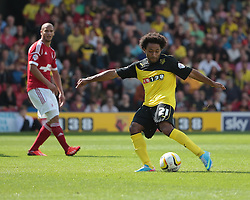 Watford's Ikechi Anya tries a shot  - Photo mandatory by-line: Nigel Pitts-Drake/JMP - Tel: Mobile: 07966 386802 25/08/2013 - SPORT - FOOTBALL -Vicarage Road Stadium - Watford -  Watford v Nottingham Forest - Sky Bet Championship