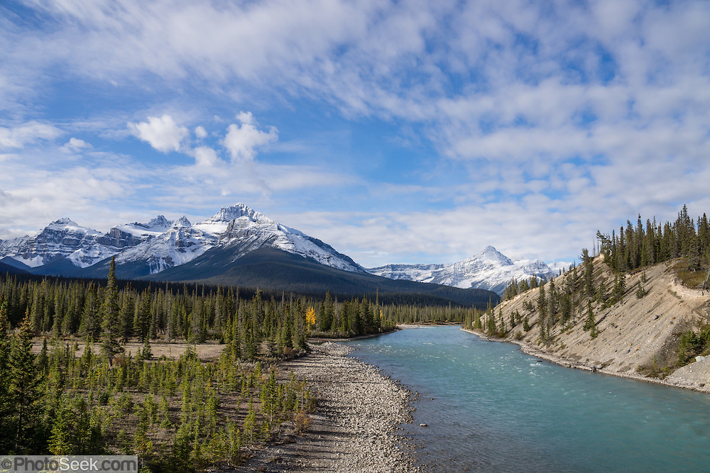 North Saskatchewan River at Saskatchewan Crossing, along the Icefields Parkway. Banff National Park is Canada's oldest national park, established in 1885 in the Rocky Mountains, Alberta. Banff is part of the Canadian Rocky Mountain Parks World Heritage Site declared by UNESCO in 1984.
