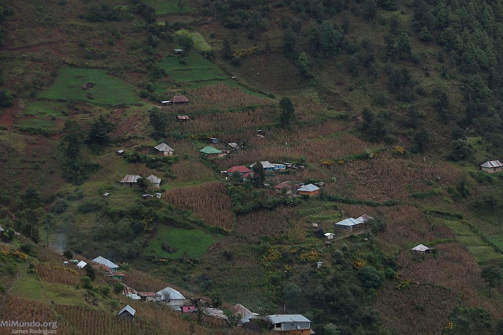 Panorama of Ixcanac Hamlet. San Rafael La Independencia, Huehuetenango, Guatemala. November 1, 2012.
