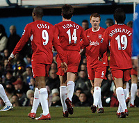 Photo: Daniel Hambury.<br />Portsmouth v Liverpool. The FA Cup. 29/01/2006.<br />Liverpool's John Arne Riise (facing) celebrates his goal with team mates.