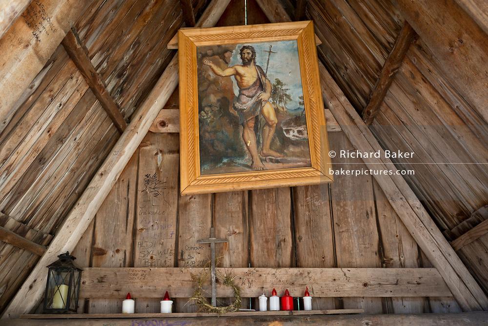 An interior of the small chapel of St. Jana Chrzciciela at the top of Polana Chocholowska a hiking route on Dolina Chocholowska in the Tatra National Park, on 17th September 2019, near Zakopane, Malopolska, Poland.