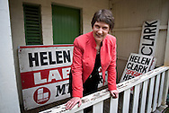 Prime Minister Helen Clark stands amongst election campaign signs of the past, at her Auckland electorate office. <br />