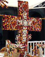 Cross or crucifix constructed from dried flowers for Noche de Rabanos, Oaxaca, Mexico.