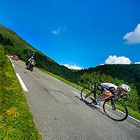 Frankrijk, Col d&rsquo;Aspin, 08-07-2016<br /> Wielrennen, Tour de France, 6e etappe.<br /> Van L&rsquo;Isle-Jourdain naar Lac De Payolle.<br /> Stephen Cummings in de afdaling van de Col d&rsquo;Aspin op weg naar de dagzege.<br /> Foto: Klaas Jan van der Weij