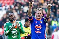 UTRECHT - FC Utrecht - Feyenoord , Voetbal , Seizoen 2015/2016 , Eredivisie , Stadion de Galgenwaard  , 28-02-2016, Speler van Feyenoord Dirk Kuyt (r) bednakt supporters samen met Keeper van Feyenoord Kenneth Vermeer (l)