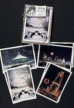8 assorted winter scene note cards of Cincinnati
