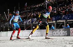 04.01.2012, DKB-Ski-ARENA, Oberhof, GER, E.ON IBU Weltcup Biathlon 2012, Staffel Frauen, im Bild Sabrina Buchholz (GER) vor Olga Zaitseva (RUS) // during relay Ladies of E.ON IBU World Cup Biathlon, Thüringen, Germany on 2012/01/04. EXPA Pictures © 2012, PhotoCredit: EXPA/ nph/ Hessland..***** ATTENTION - OUT OF GER, CRO *****
